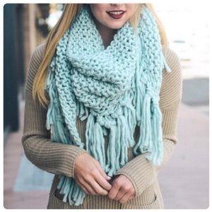 Oversized Knit Tassel Triangle Scarf